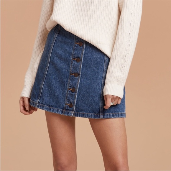 Wilfred Dresses & Skirts - Wilfred Free Ahrens Button Front Denim Mini Skirt